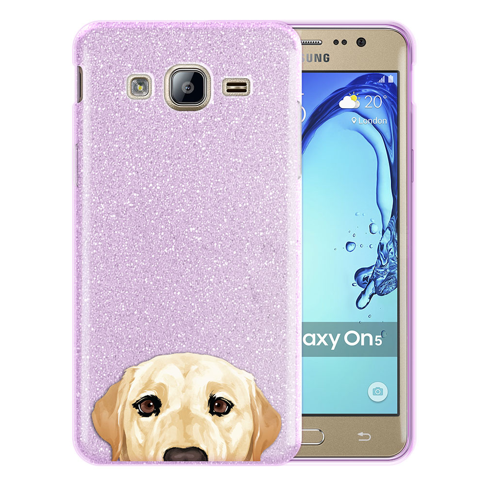 Hybrid Purple Glitter Clear Fusion Cream Labrador Retriever Dog Protector Cover Case for Samsung Galaxy On5 G550 G500