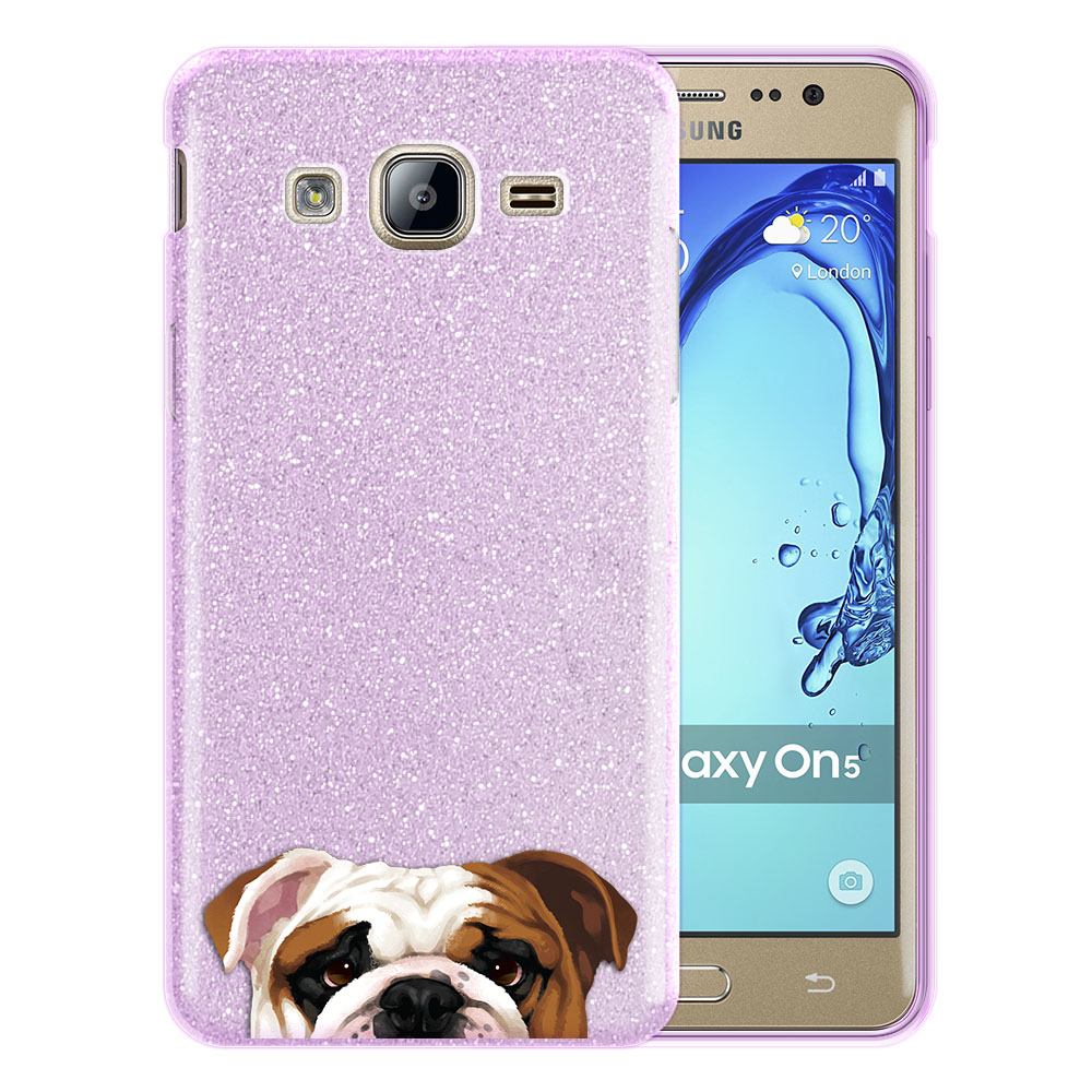 Hybrid Purple Glitter Clear Fusion English Bulldog Protector Cover Case for Samsung Galaxy On5 G550 G500