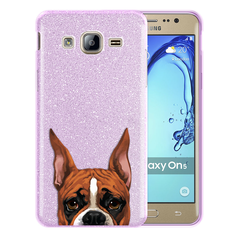Hybrid Purple Glitter Clear Fusion Fawn Color Boxer Dog Protector Cover Case for Samsung Galaxy On5 G550 G500