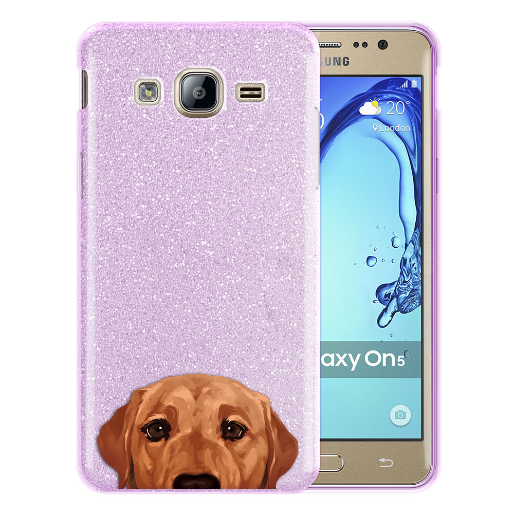 Hybrid Purple Glitter Clear Fusion Fox Red Labrador Retriever Dog Protector Cover Case for Samsung Galaxy On5 G550 G500