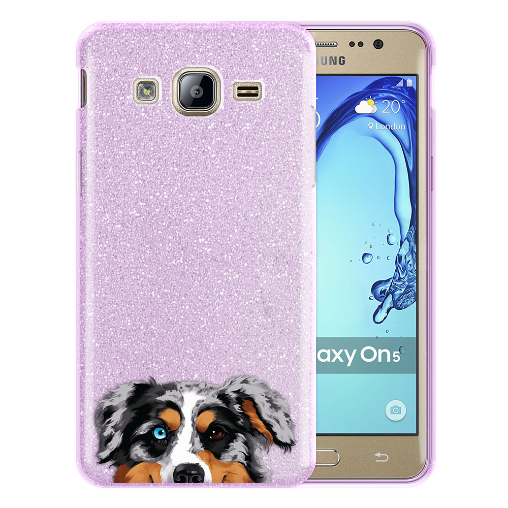Hybrid Purple Glitter Clear Fusion Merle Aussie Australian Shepherd Dog Protector Cover Case for Samsung Galaxy On5 G550 G500