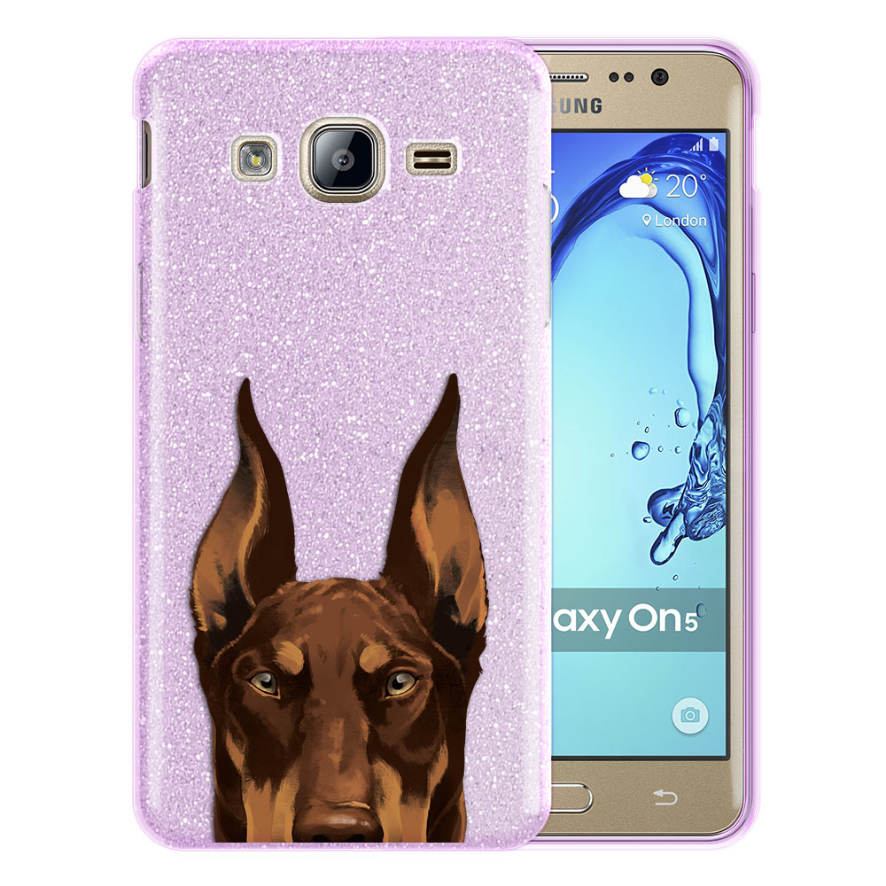 Hybrid Purple Glitter Clear Fusion Red Chocolate Doberman Pinscher Dog Protector Cover Case for Samsung Galaxy On5 G550 G500