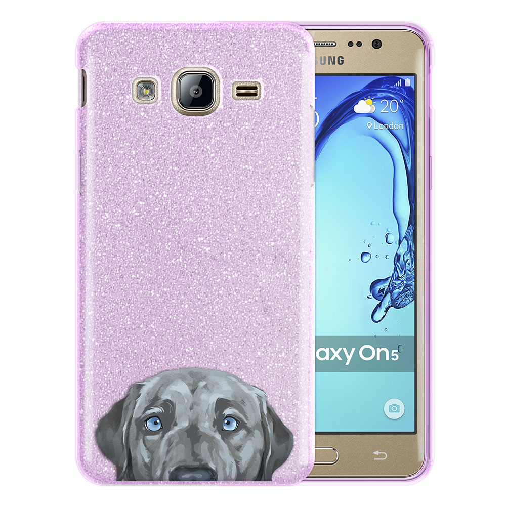Hybrid Purple Glitter Clear Fusion Silver Blue Labrador Retriever Dog Protector Cover Case for Samsung Galaxy On5 G550 G500
