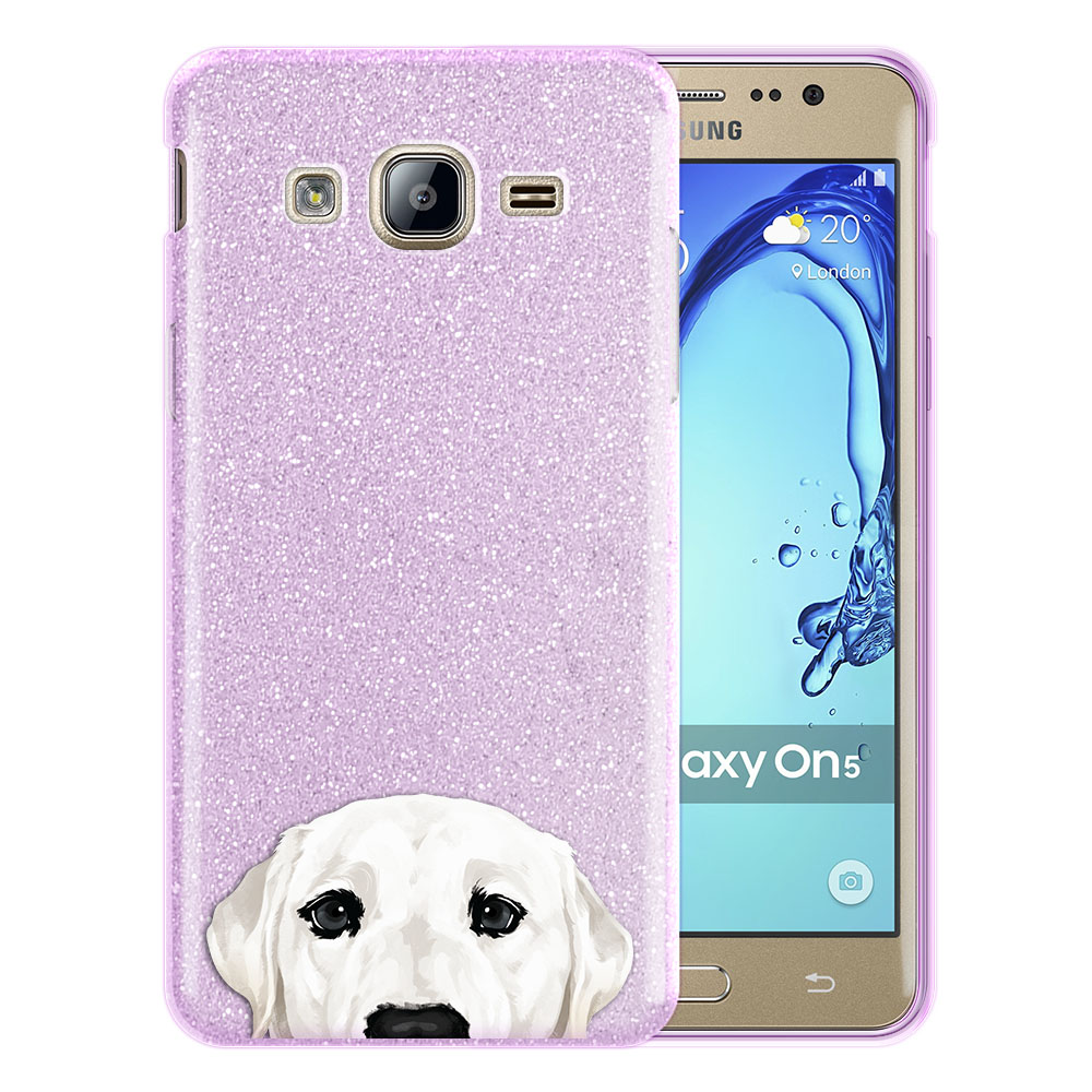 Hybrid Purple Glitter Clear Fusion White Labrador Retriever Dog Protector Cover Case for Samsung Galaxy On5 G550 G500