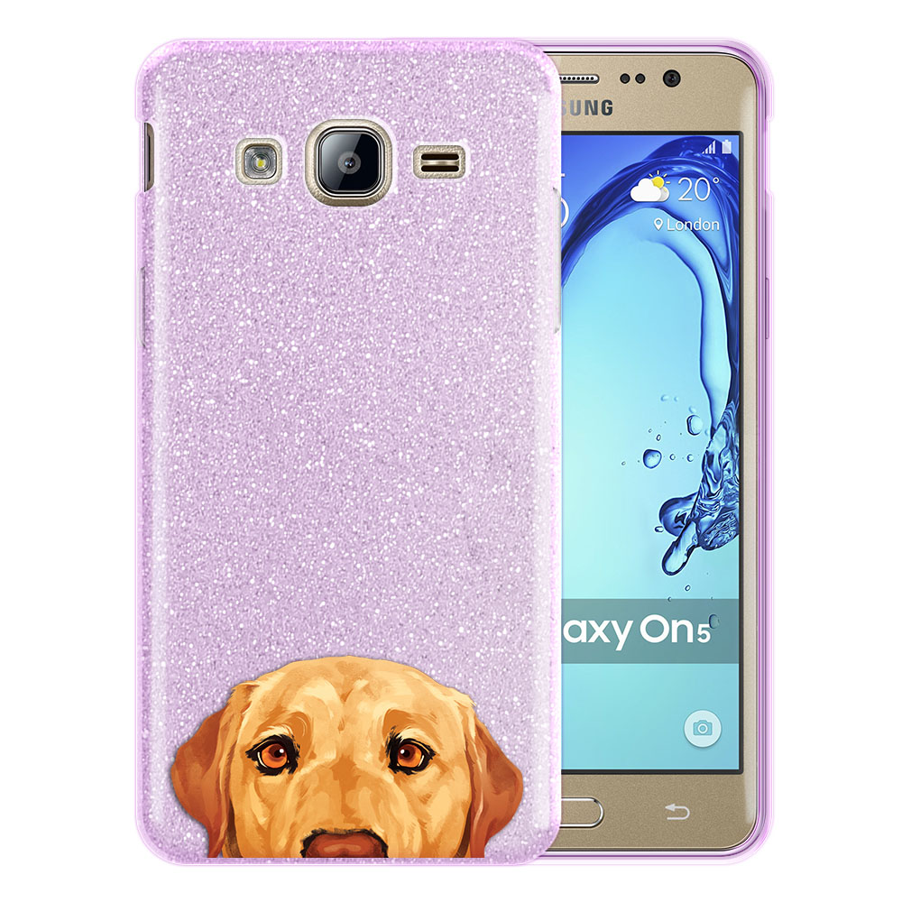 Hybrid Purple Glitter Clear Fusion Yellow Labrador Retriever Dog Protector Cover Case for Samsung Galaxy On5 G550 G500