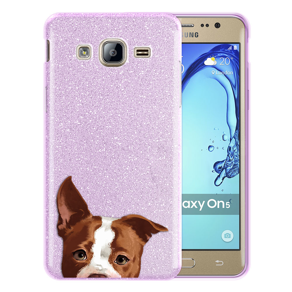 Hybrid Purple Glitter Clear Fusion Clear Brown American Pit Bull Puppy Dog Protector Cover Case for Samsung Galaxy On5 G550 G500