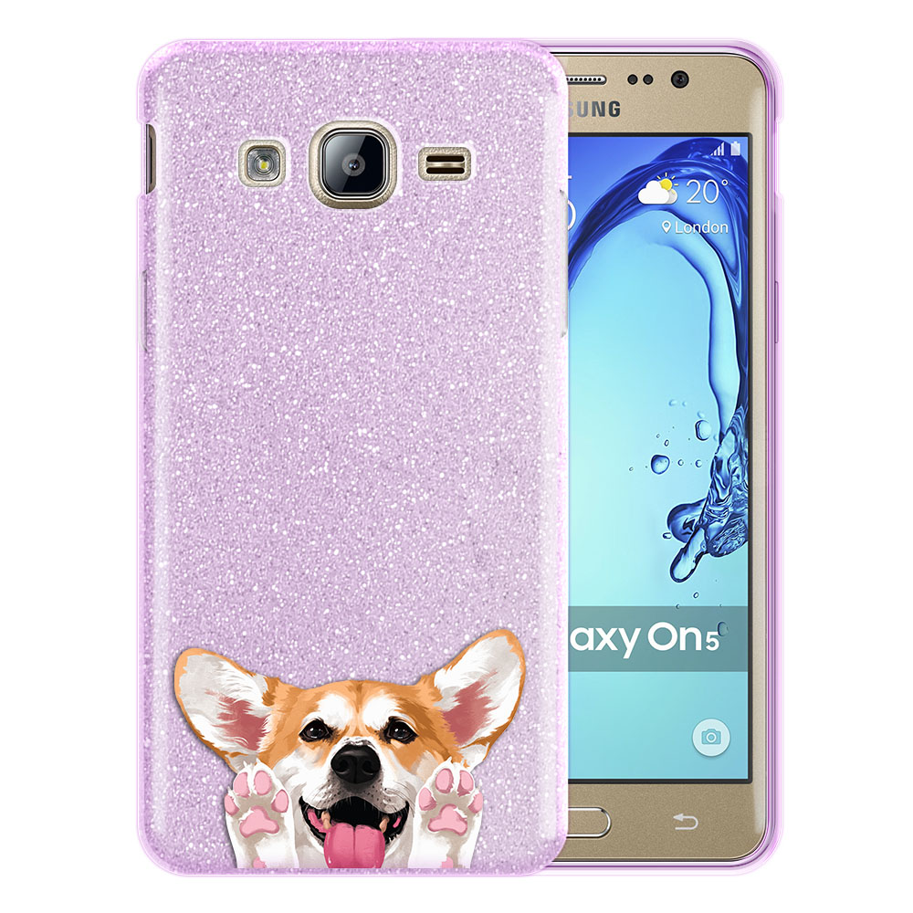 Hybrid Purple Glitter Clear Fusion Clear Red Pembroke Welsh Corgi Protector Cover Case for Samsung Galaxy On5 G550 G500