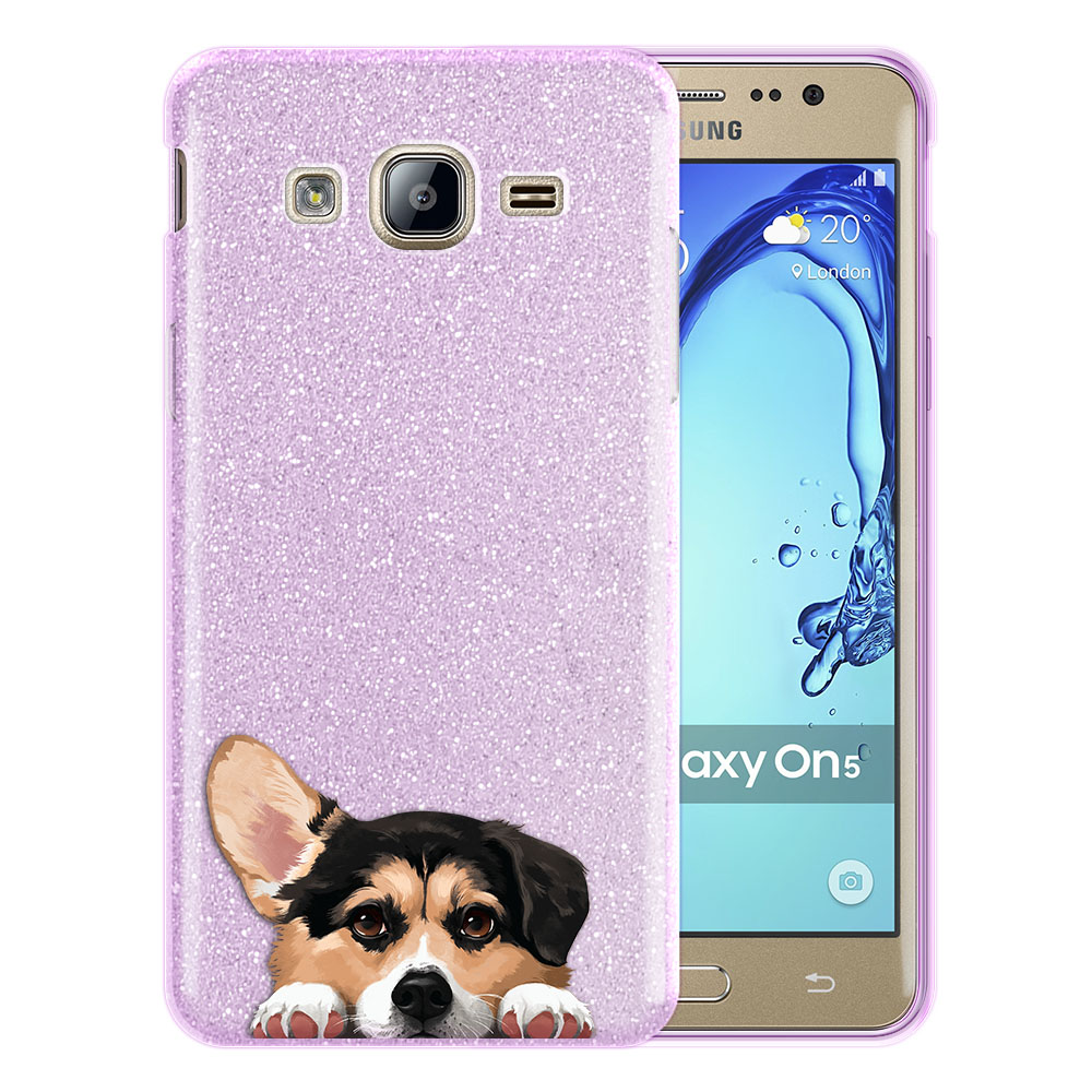 Hybrid Purple Glitter Clear Fusion Clear Tricolor Pembroke Welsh Corgi Protector Cover Case for Samsung Galaxy On5 G550 G500