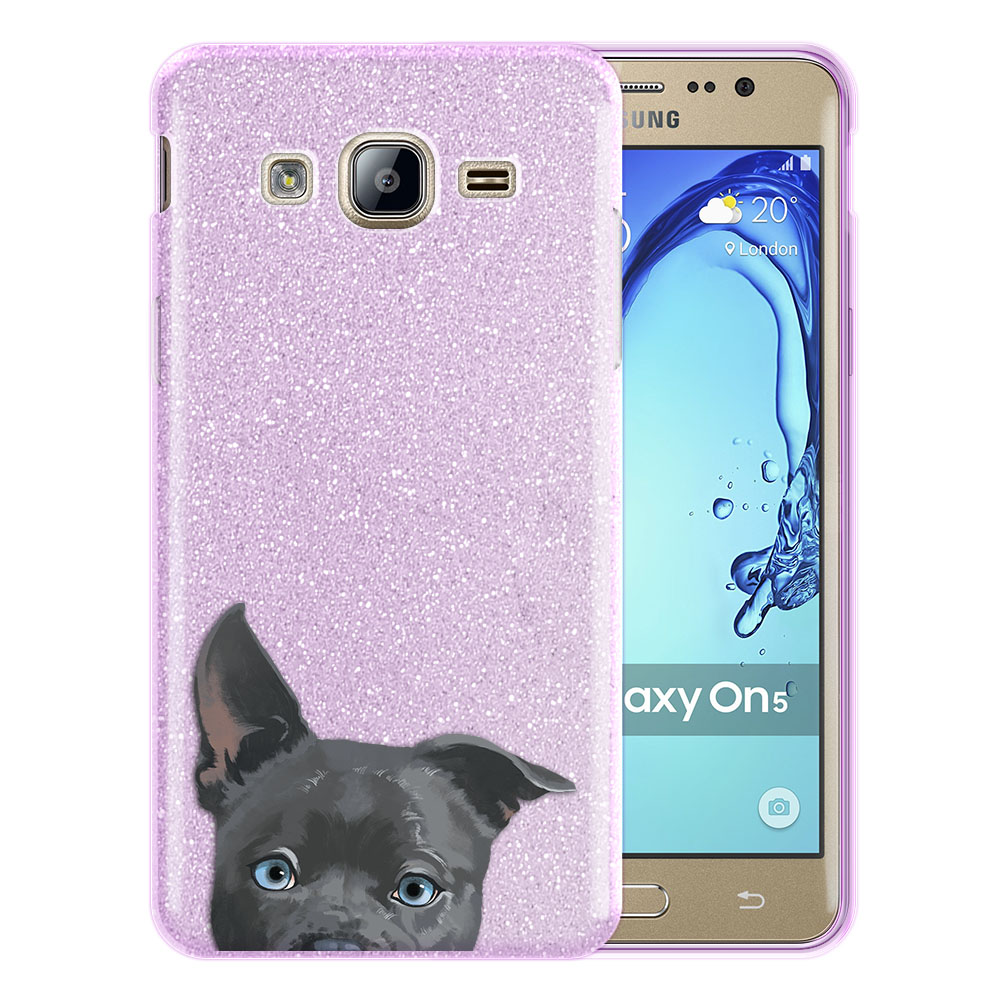 Hybrid Purple Glitter Clear Fusion Clear Silver American Pit Bull Puppy Dog Protector Cover Case for Samsung Galaxy On5 G550 G500