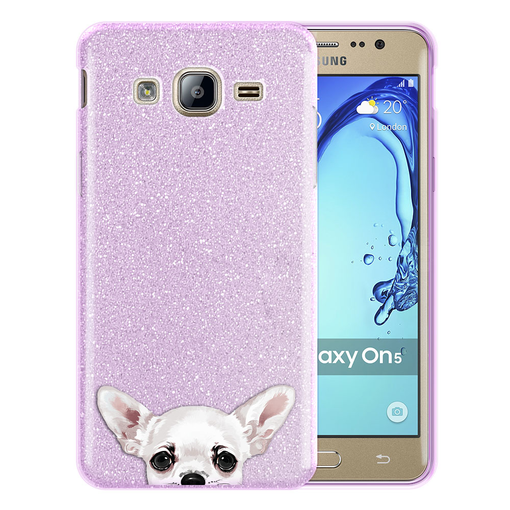 Hybrid Purple Glitter Clear Fusion Clear White Chihuahua Protector Cover Case for Samsung Galaxy On5 G550 G500