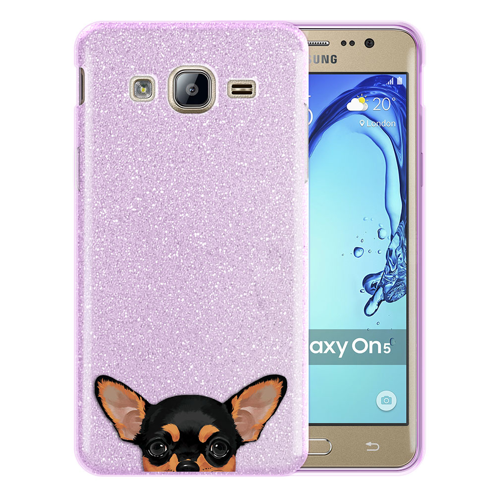 Hybrid Purple Glitter Clear Fusion Clear Black Tan Chihuahua Protector Cover Case for Samsung Galaxy On5 G550 G500