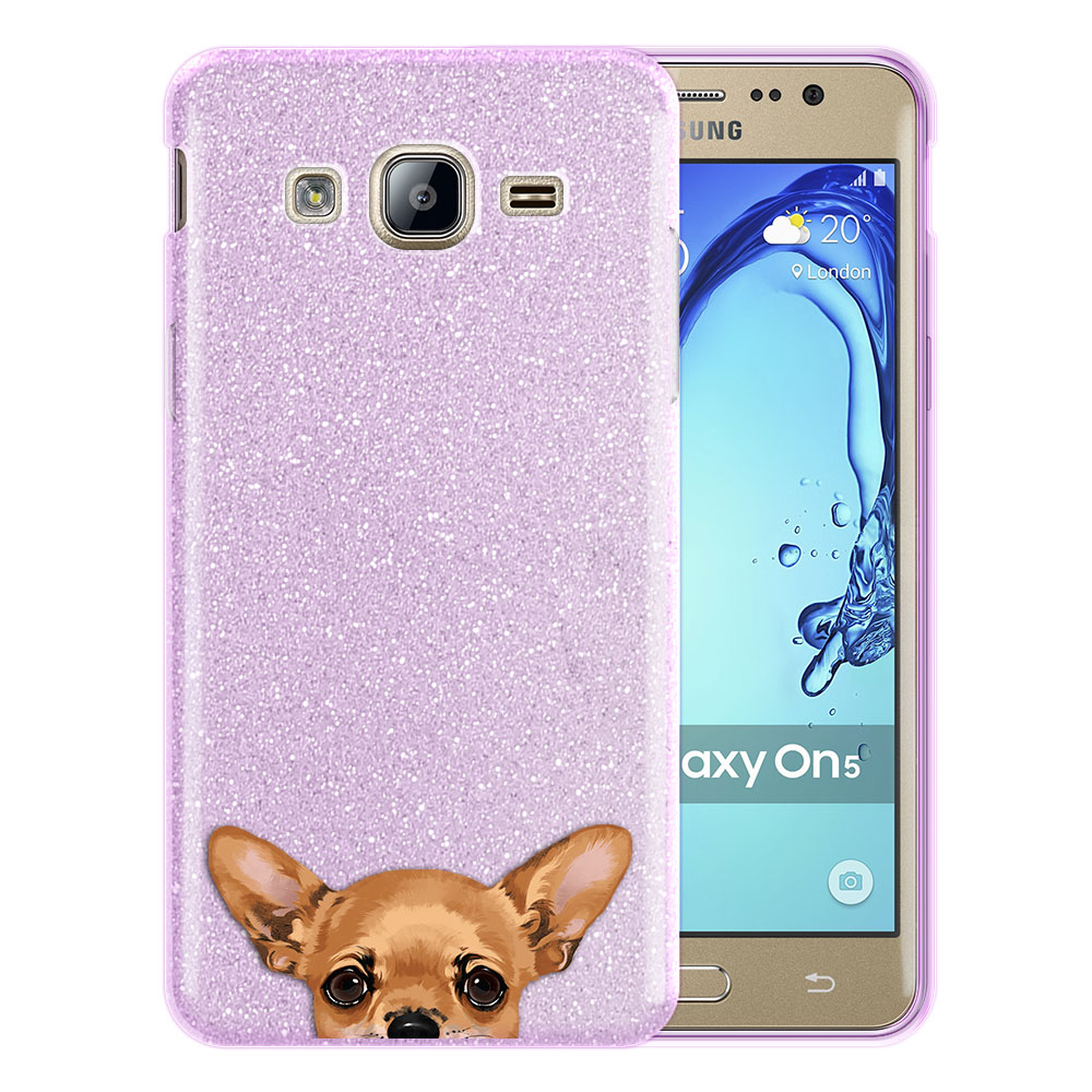 Hybrid Purple Glitter Clear Fusion Clear Fawn Apple Head Chihuahua Protector Cover Case for Samsung Galaxy On5 G550 G500