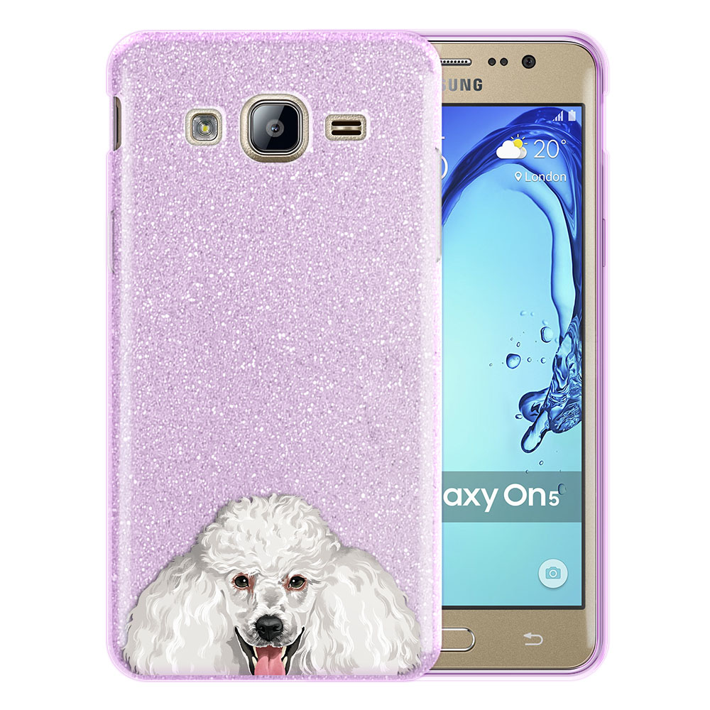 Hybrid Purple Glitter Clear Fusion Clear White Standard Poodle Protector Cover Case for Samsung Galaxy On5 G550 G500
