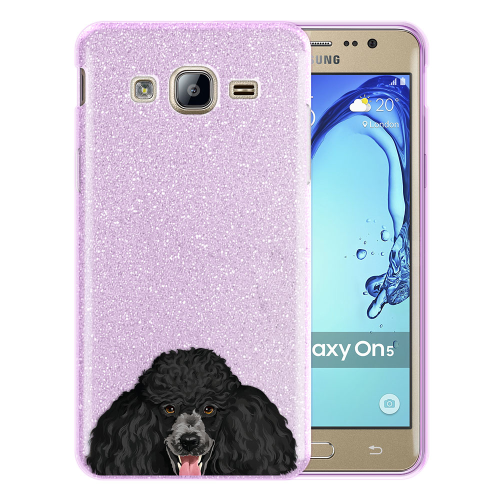 Hybrid Purple Glitter Clear Fusion Clear Black Standard Poodle Protector Cover Case for Samsung Galaxy On5 G550 G500