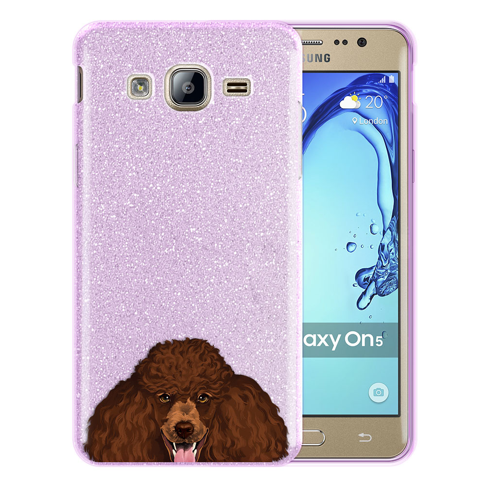 Hybrid Purple Glitter Clear Fusion Clear Brown Standard Poodle Protector Cover Case for Samsung Galaxy On5 G550 G500