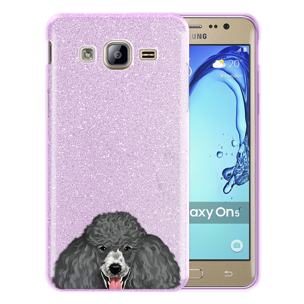 Hybrid Purple Glitter Clear Fusion Clear Grey Standard Poodle Protector Cover Case for Samsung Galaxy On5 G550 G500