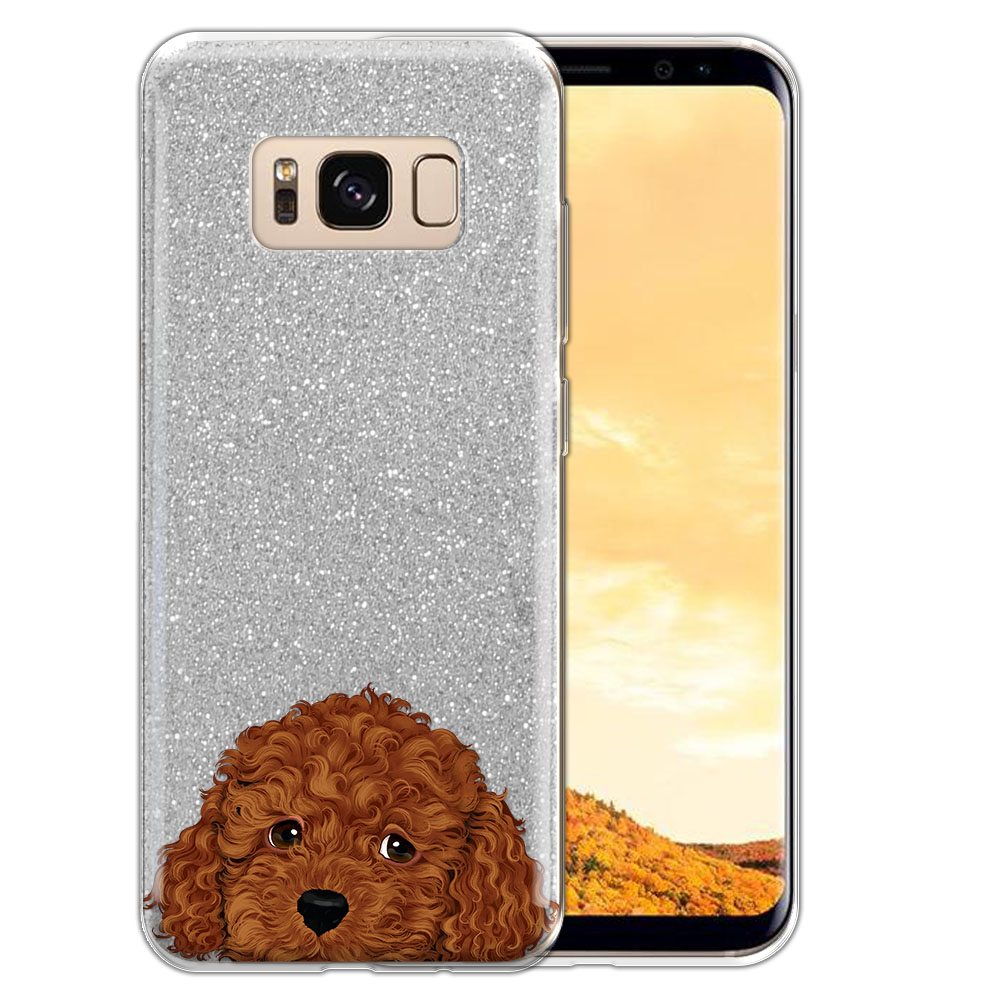 Hybrid Silver Glitter Clear Fusion Brown Toy Poodle Protector Cover Case for Samsung Galaxy S8  Plus G955
