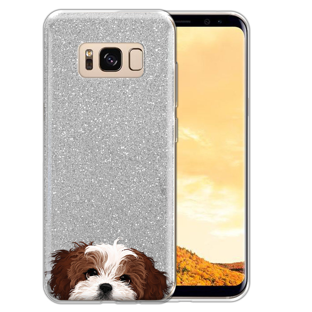 Hybrid Silver Glitter Clear Fusion Brown White Shih Tzu Protector Cover Case for Samsung Galaxy S8  Plus G955