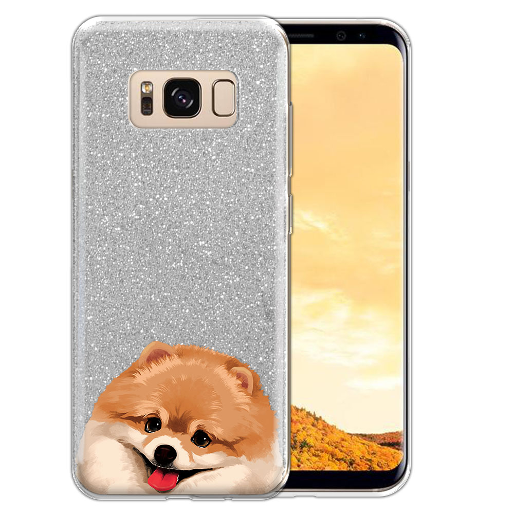 Hybrid Silver Glitter Clear Fusion Fawn Pomeranian Protector Cover Case for Samsung Galaxy S8  Plus G955