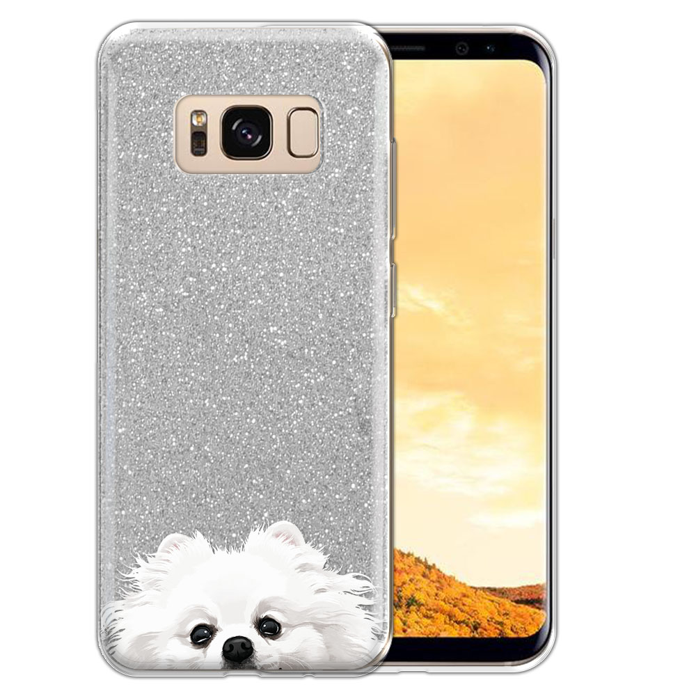 Hybrid Silver Glitter Clear Fusion White Teacup Pomeranian Protector Cover Case for Samsung Galaxy S8  Plus G955