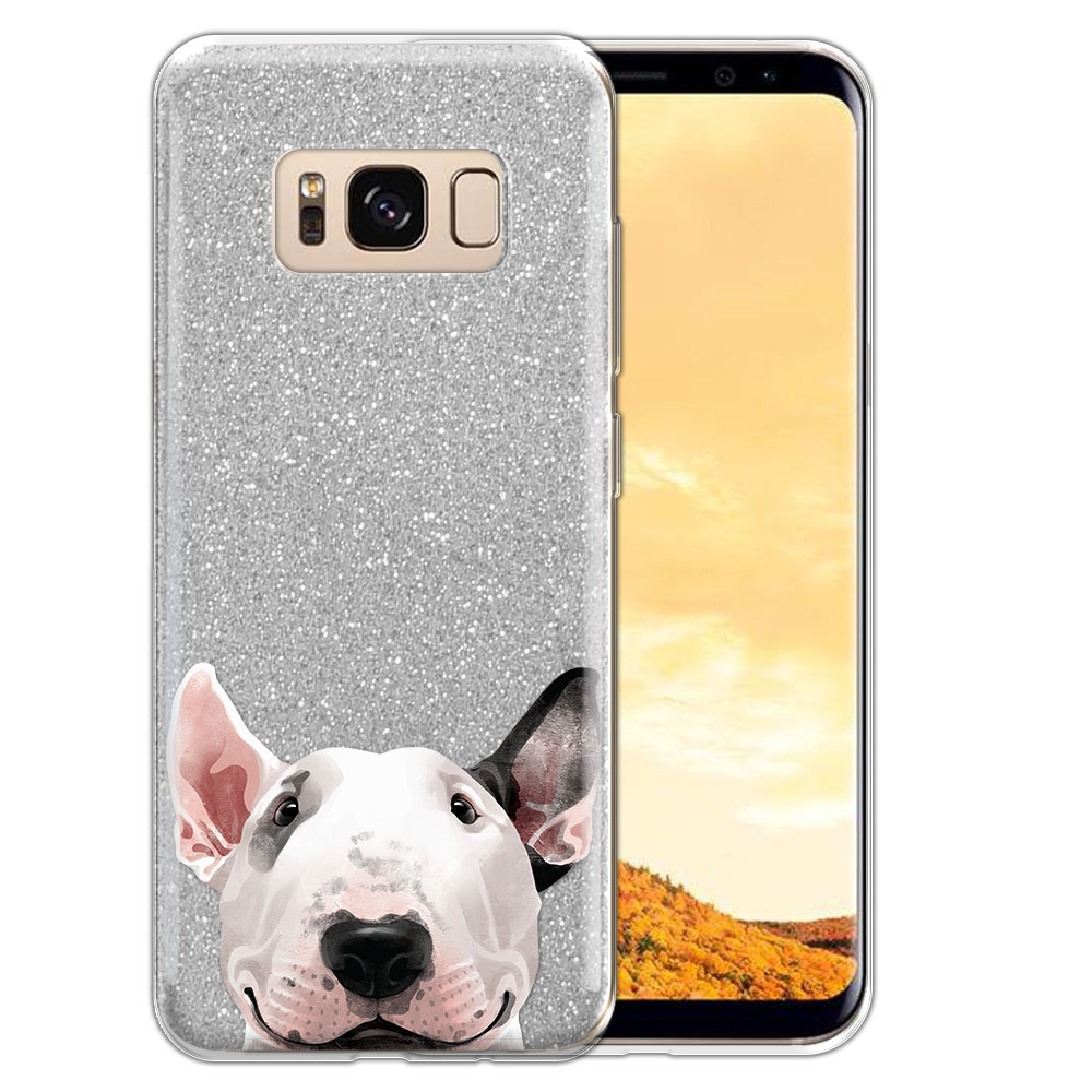 Hybrid Silver Glitter Clear Fusion Bull Terrier Protector Cover Case for Samsung Galaxy S8  Plus G955