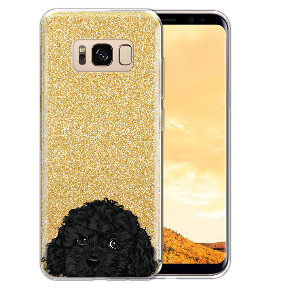 Hybrid Gold Glitter Clear Fusion Black Toy Poodle Protector Cover Case for Samsung Galaxy S8  Plus G955