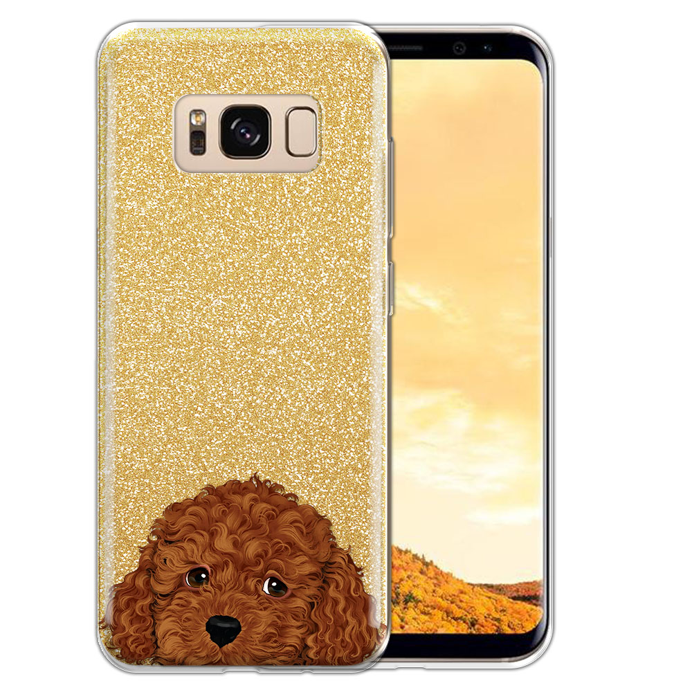 Hybrid Gold Glitter Clear Fusion Brown Toy Poodle Protector Cover Case for Samsung Galaxy S8  Plus G955