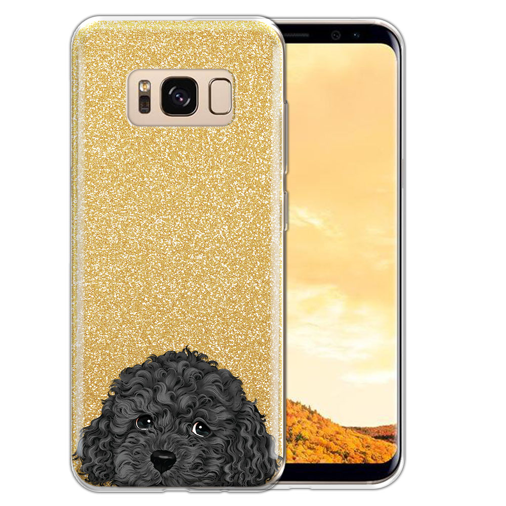 Hybrid Gold Glitter Clear Fusion Gray Toy Poodle Protector Cover Case for Samsung Galaxy S8  Plus G955