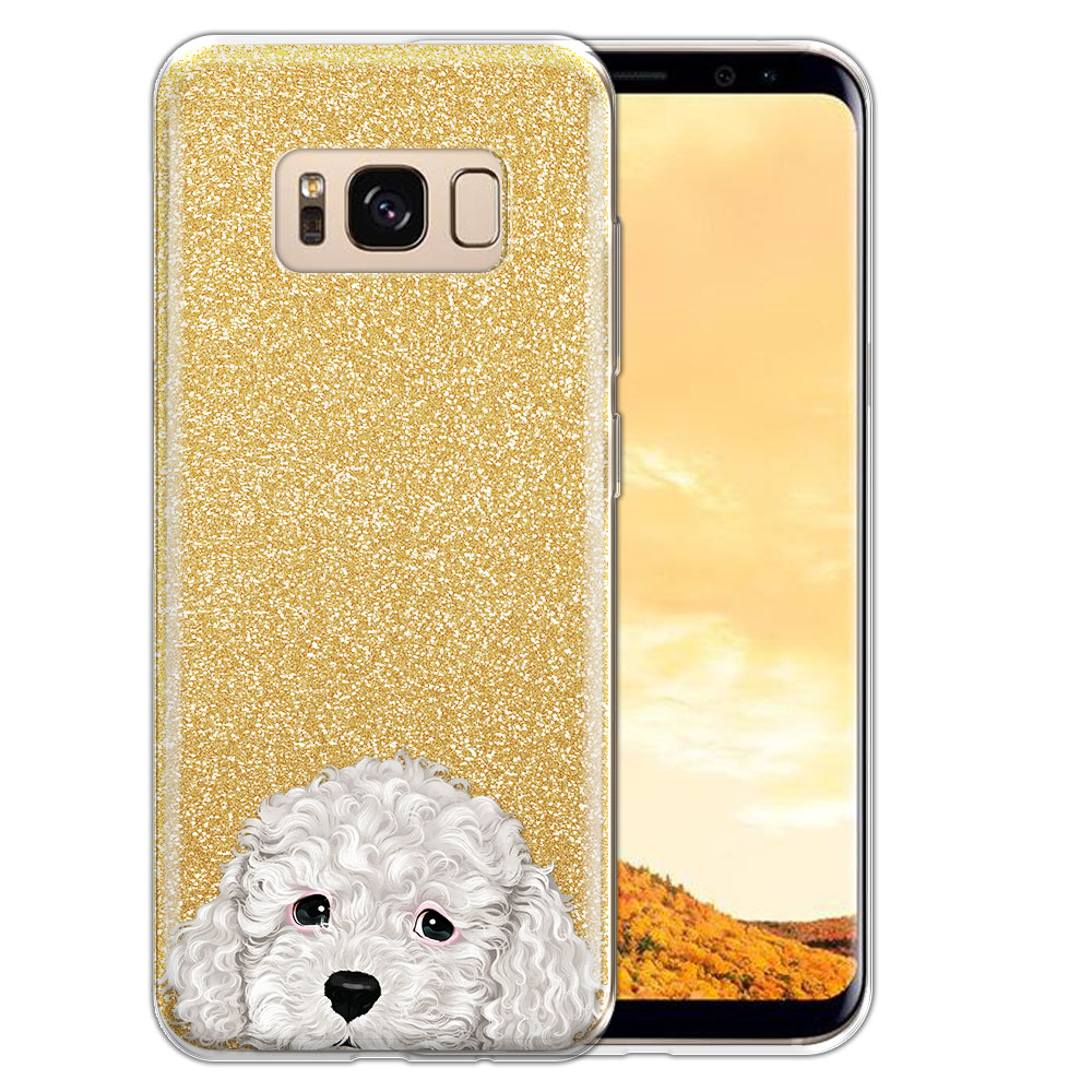 Hybrid Gold Glitter Clear Fusion White Toy Poodle Protector Cover Case for Samsung Galaxy S8  Plus G955