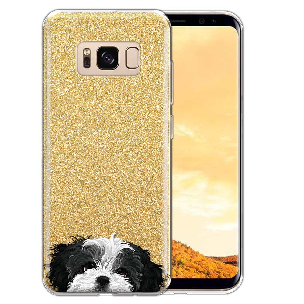 Hybrid Gold Glitter Clear Fusion Black White Shih Tzu Protector Cover Case for Samsung Galaxy S8  Plus G955