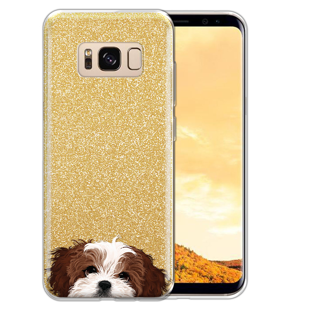 Hybrid Gold Glitter Clear Fusion Brown White Shih Tzu Protector Cover Case for Samsung Galaxy S8  Plus G955