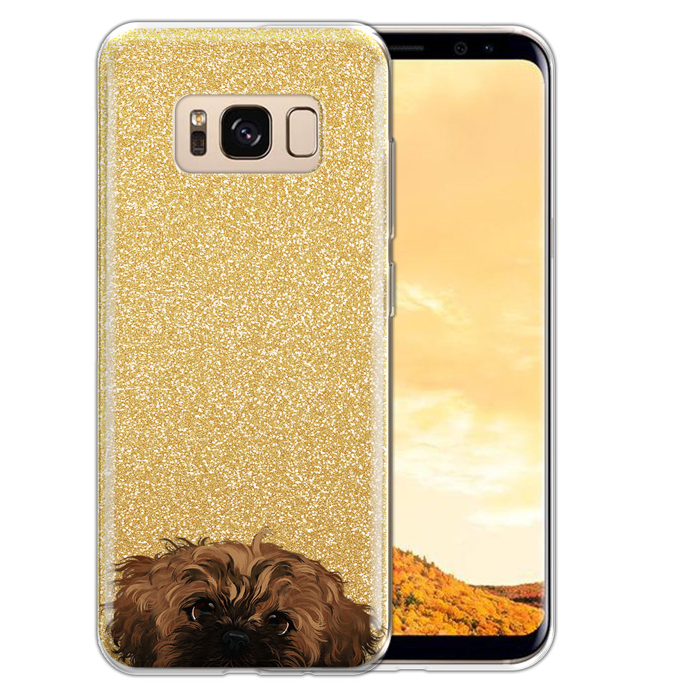 Hybrid Gold Glitter Clear Fusion Fawn Black Mask Shih Tzu Protector Cover Case for Samsung Galaxy S8  Plus G955