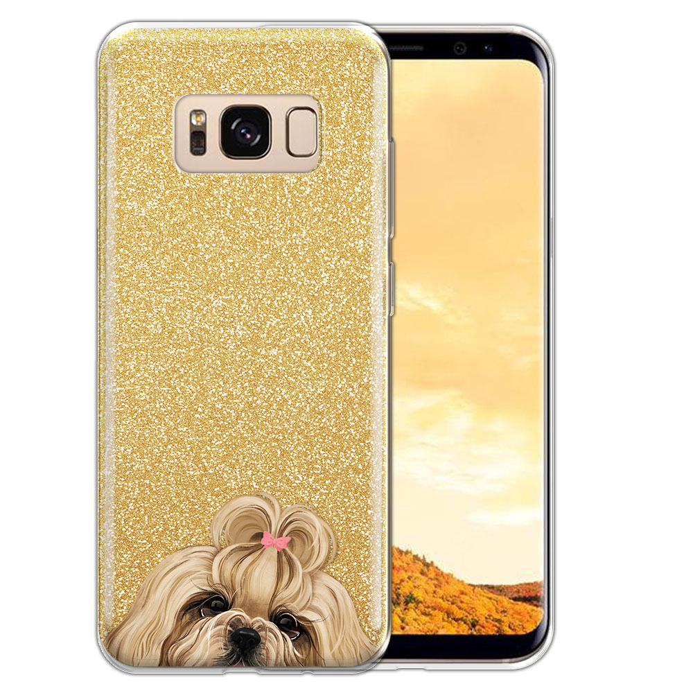 Hybrid Gold Glitter Clear Fusion Gold White Shih Tzu Protector Cover Case for Samsung Galaxy S8  Plus G955