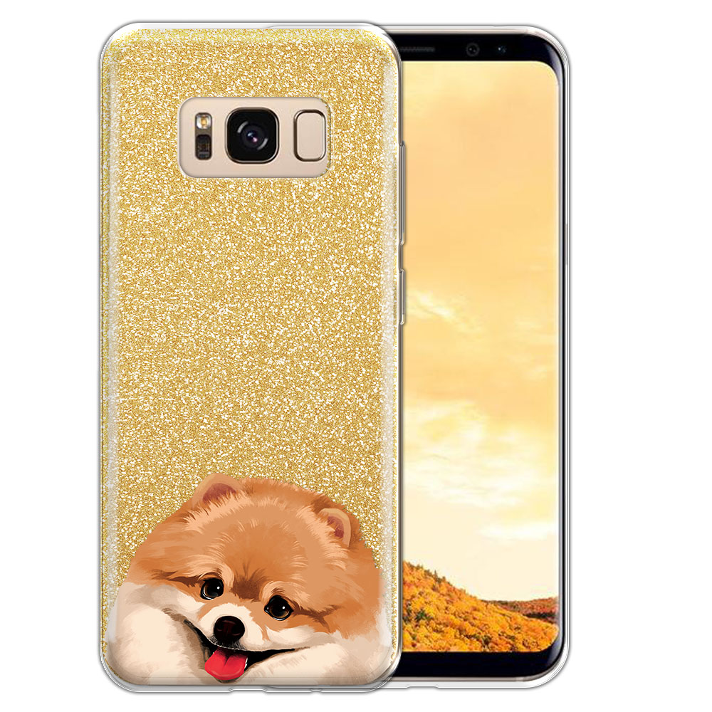 Hybrid Gold Glitter Clear Fusion Fawn Pomeranian Protector Cover Case for Samsung Galaxy S8  Plus G955