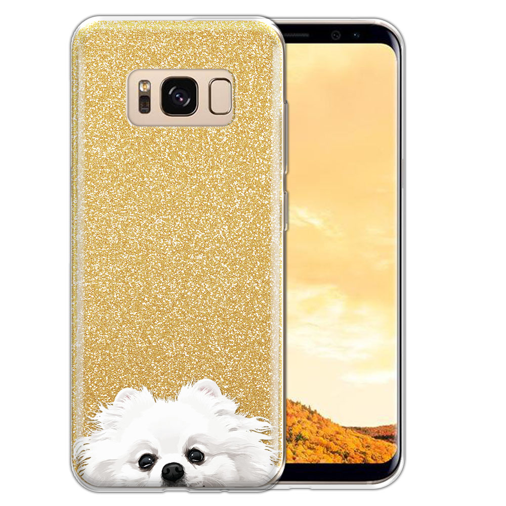 Hybrid Gold Glitter Clear Fusion White Teacup Pomeranian Protector Cover Case for Samsung Galaxy S8  Plus G955