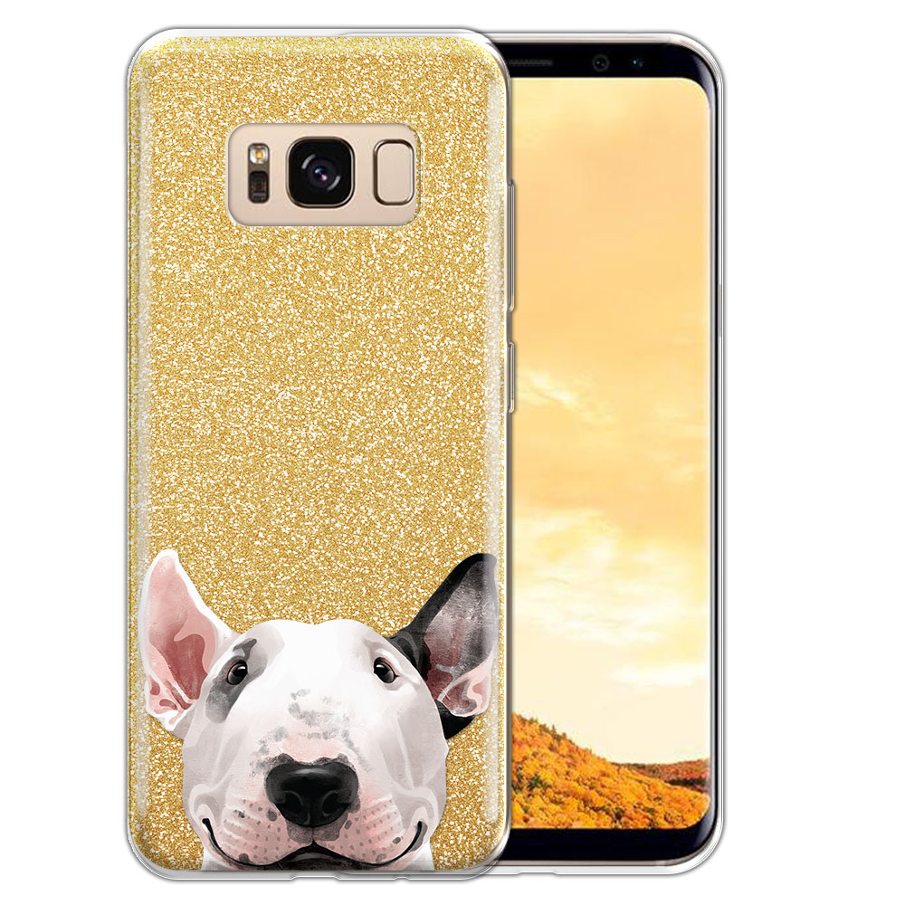 Hybrid Gold Glitter Clear Fusion Bull Terrier Protector Cover Case for Samsung Galaxy S8  Plus G955
