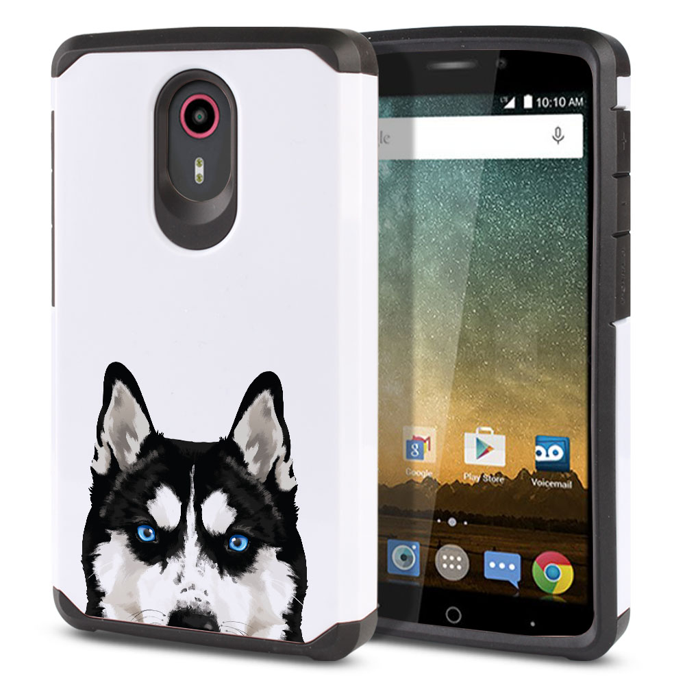 Hybrid Slim Fusion Black Siberian Husky Dog Protector Cover Case for ZTE N817 Quest Uhura