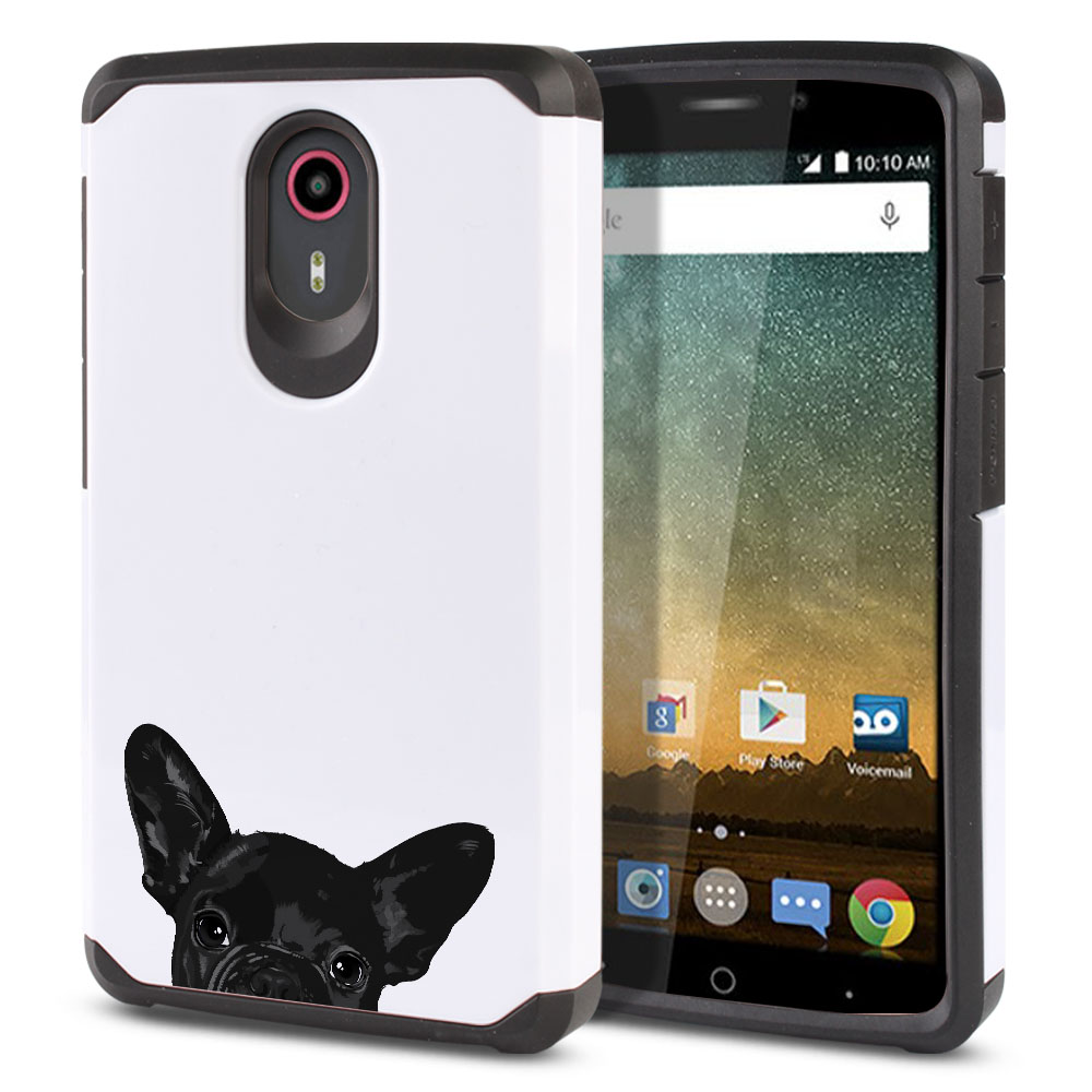 Hybrid Slim Fusion French Bulldog Puppy Dog Black Protector Cover Case for ZTE N817 Quest Uhura