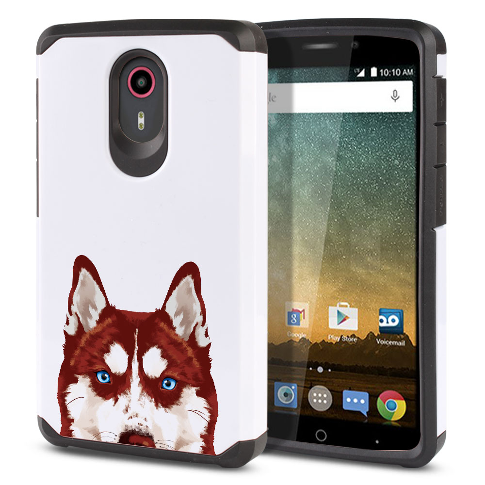 Hybrid Slim Fusion Red Siberian Husky Dog Protector Cover Case for ZTE N817 Quest Uhura