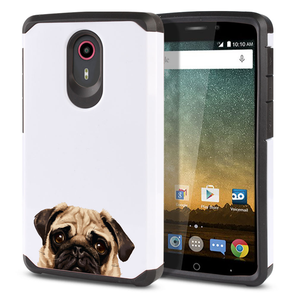 Hybrid Slim Fusion Pug Puppy Dog Protector Cover Case for ZTE N817 Quest Uhura