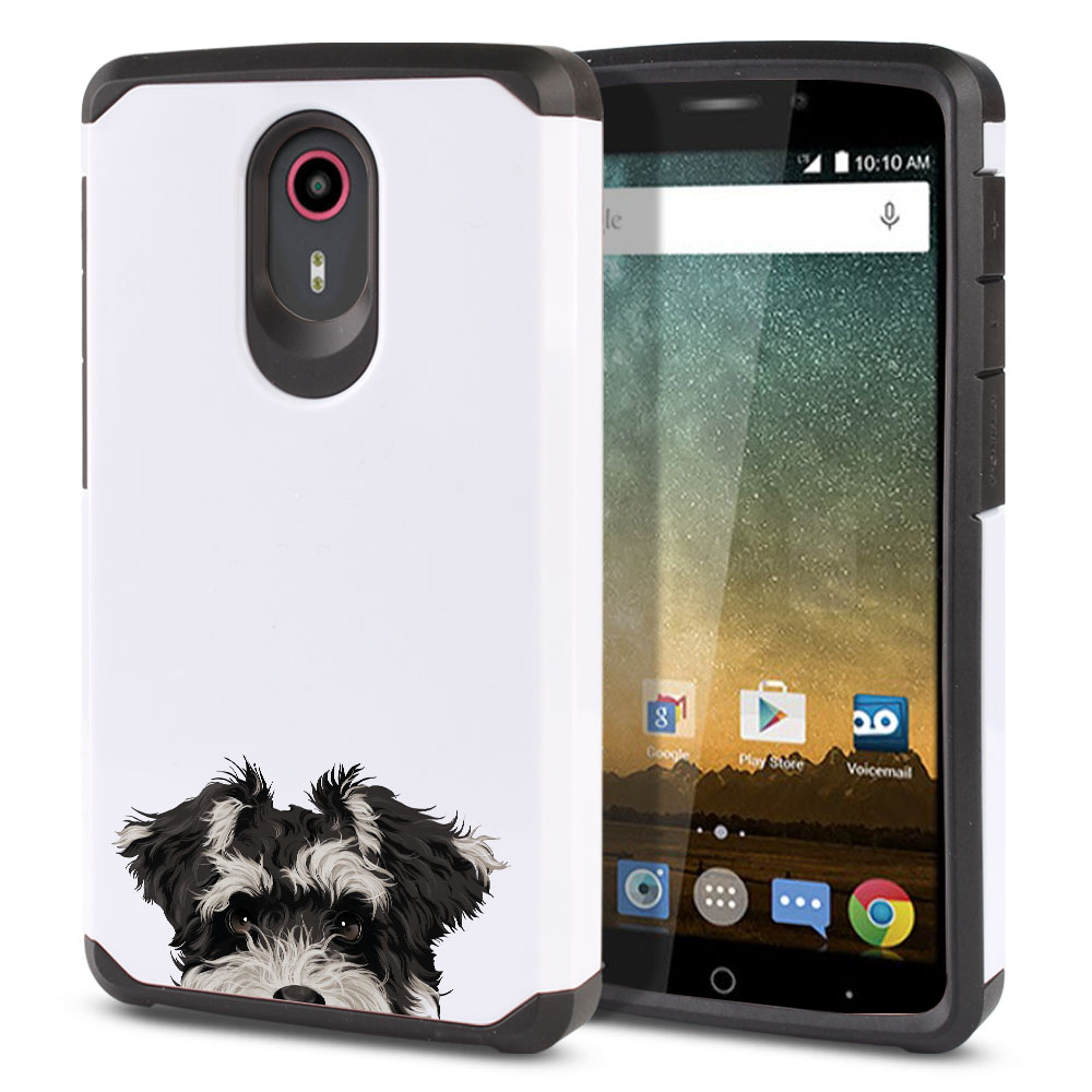 Hybrid Slim Fusion Schnauzer Puppy Dog Protector Cover Case for ZTE N817 Quest Uhura