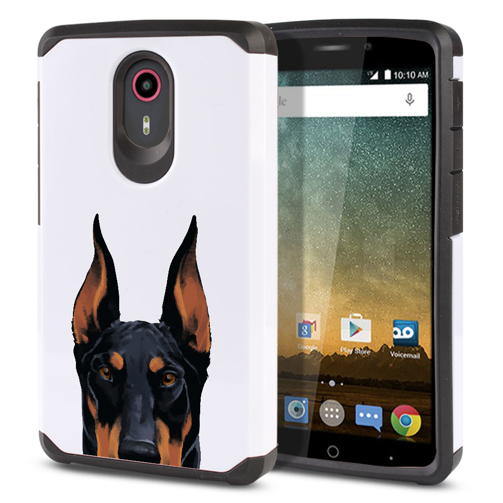 Hybrid Slim Fusion Black Rust Doberman Pinscher Dog Protector Cover Case for ZTE N817 Quest Uhura