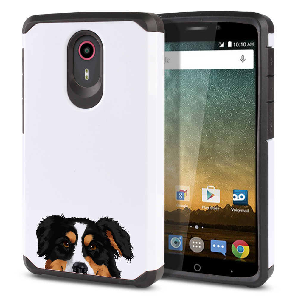 Hybrid Slim Fusion Black Tricolor Aussie Australian Shepherd Dog Protector Cover Case for ZTE N817 Quest Uhura