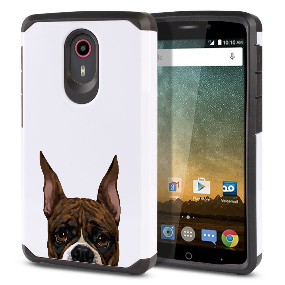 Hybrid Slim Fusion Brindle Pattern Boxer Dog Protector Cover Case for ZTE N817 Quest Uhura