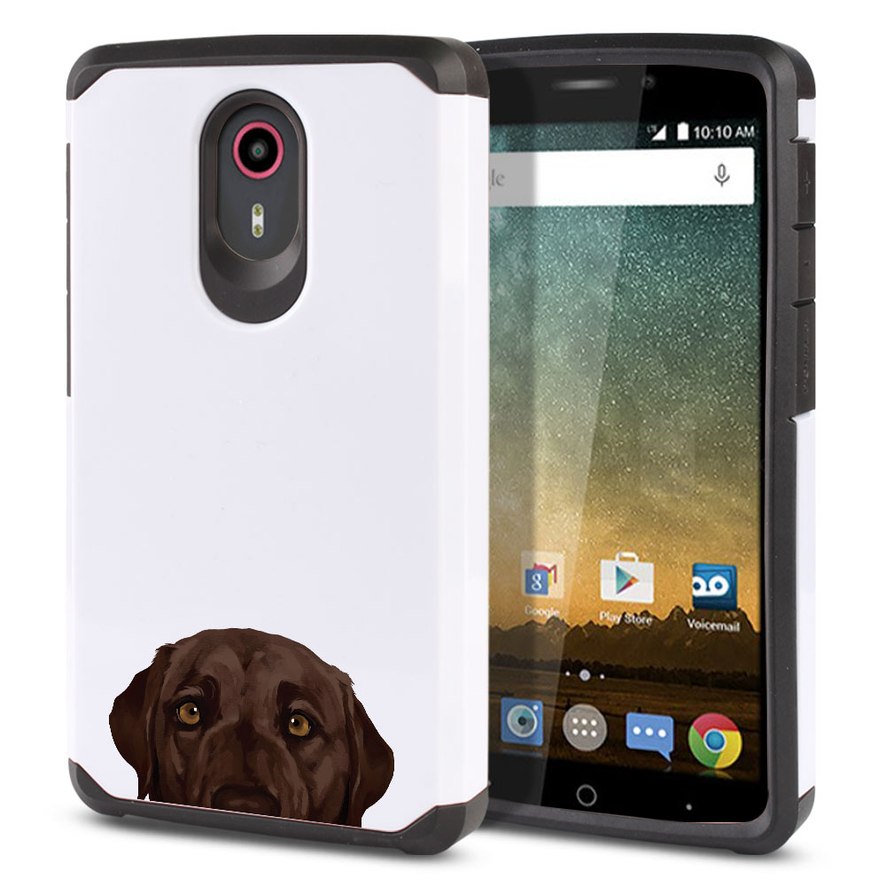 Hybrid Slim Fusion Chocolate Brown Labrador Retriever Dog Protector Cover Case for ZTE N817 Quest Uhura