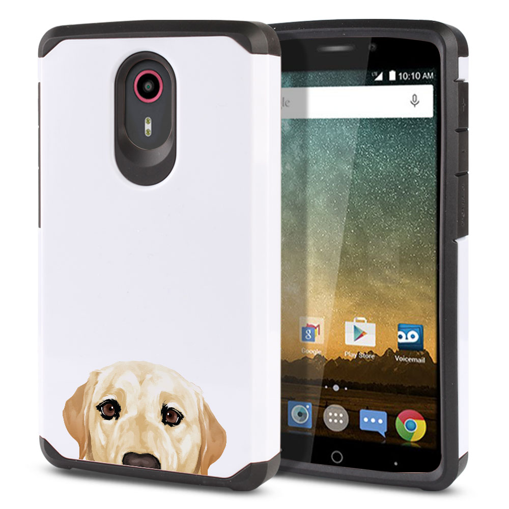 Hybrid Slim Fusion Cream Labrador Retriever Dog Protector Cover Case for ZTE N817 Quest Uhura