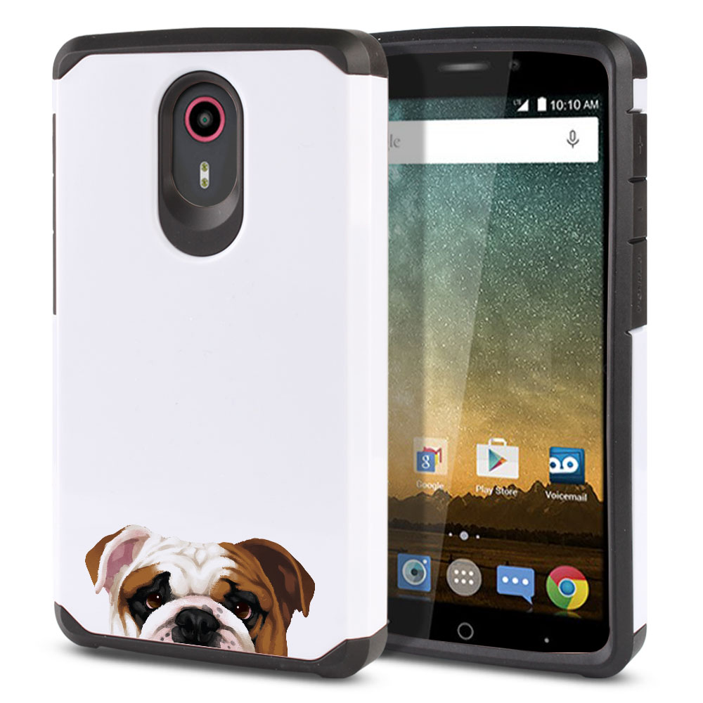 Hybrid Slim Fusion English Bulldog Protector Cover Case for ZTE N817 Quest Uhura