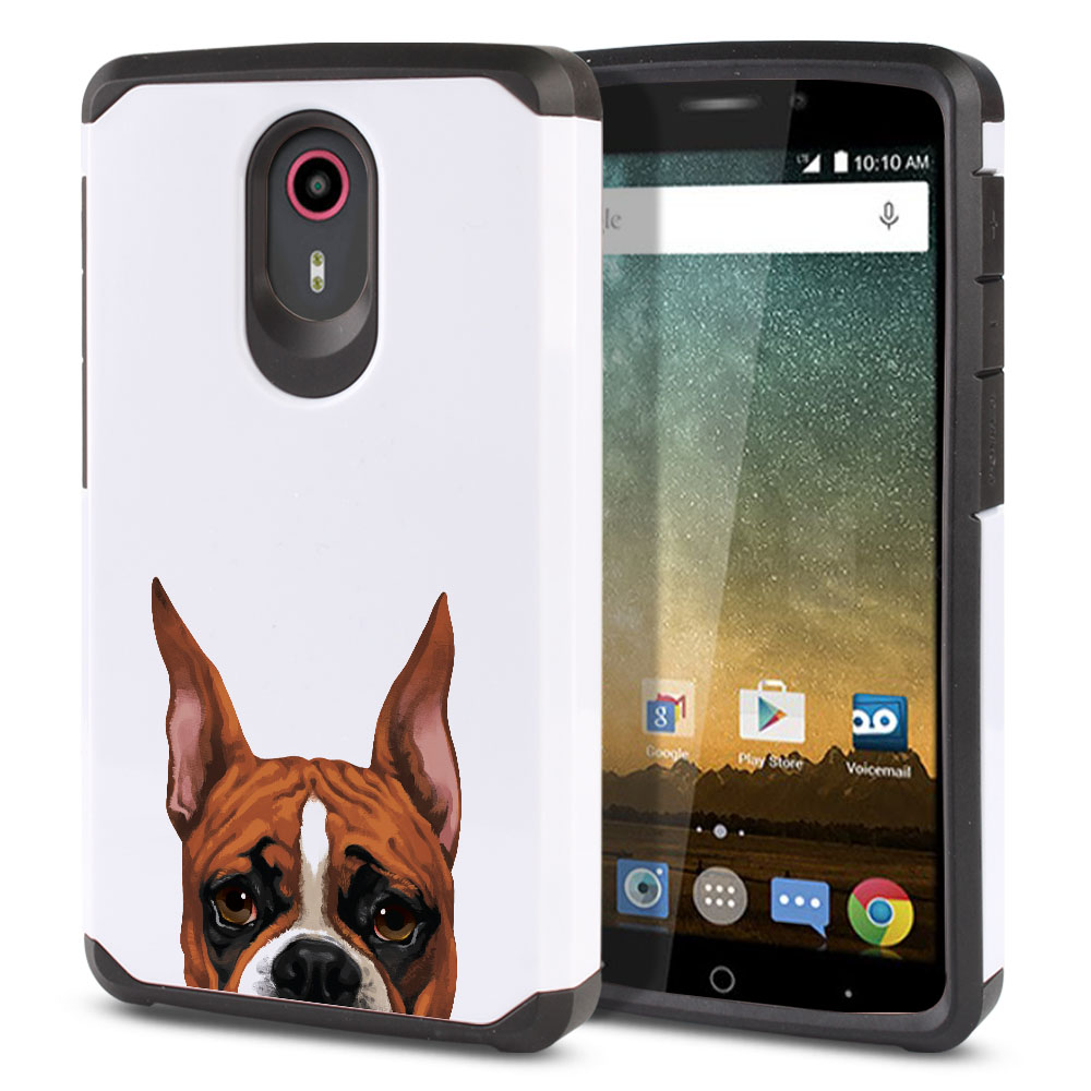 Hybrid Slim Fusion Fawn Color Boxer Dog Protector Cover Case for ZTE N817 Quest Uhura