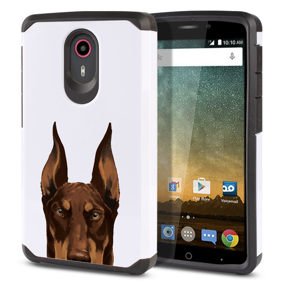 Hybrid Slim Fusion Red Chocolate Doberman Pinscher Dog Protector Cover Case for ZTE N817 Quest Uhura