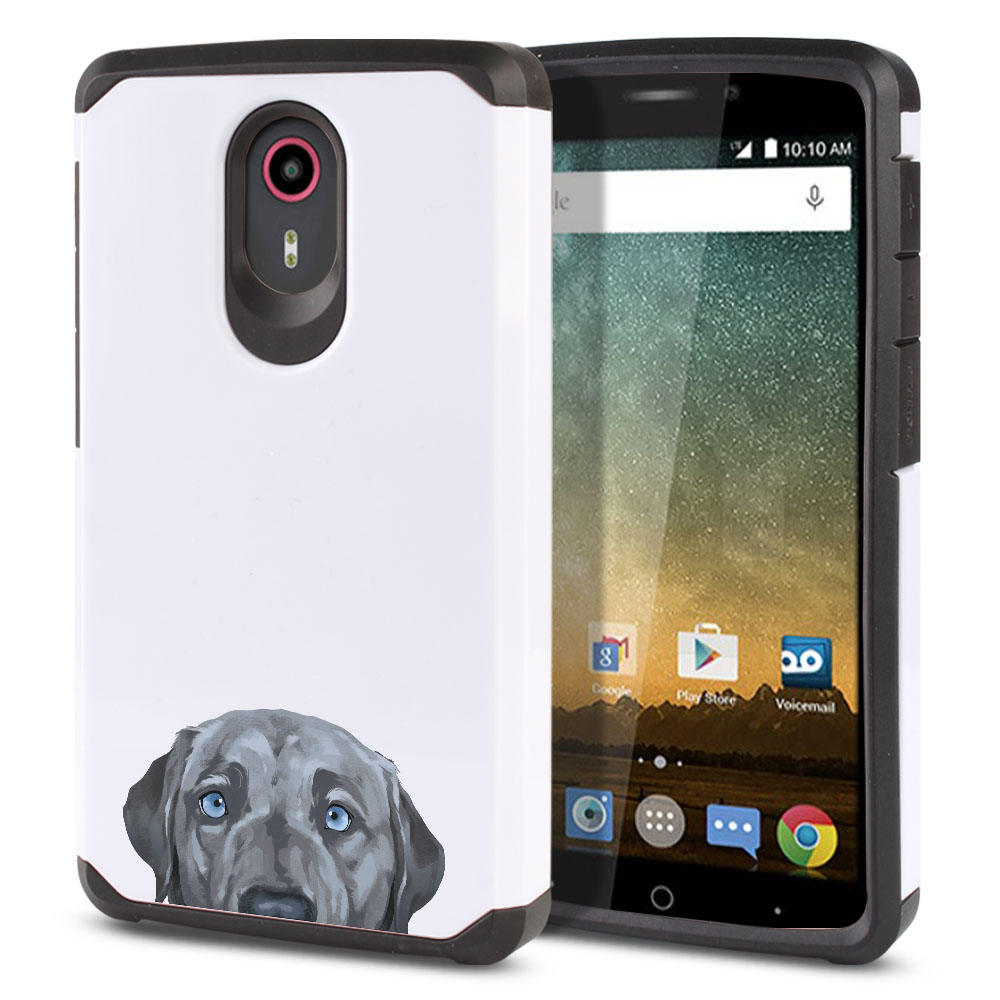 Hybrid Slim Fusion Silver Blue Labrador Retriever Dog Protector Cover Case for ZTE N817 Quest Uhura